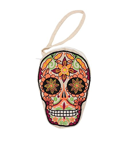 Sugar Skull Embroidery Canvas Cell Phone Zipper Wristlet Pouch Bag Purse with Wristlet Handle