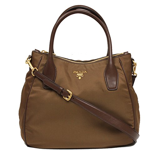 Prada Tessuto Sacca 2 Manici Brown Nylon Hobo Shoulder Bag Handbag Purse BR4992