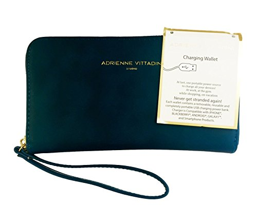 Adrienne Vittadini Charging Zip Around Wallet Wristlet – iPhone Android – Teal Smooth