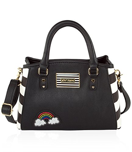 Betsey Johnson Iconic Patches Small Cross-body Satchel Bag – Stripes