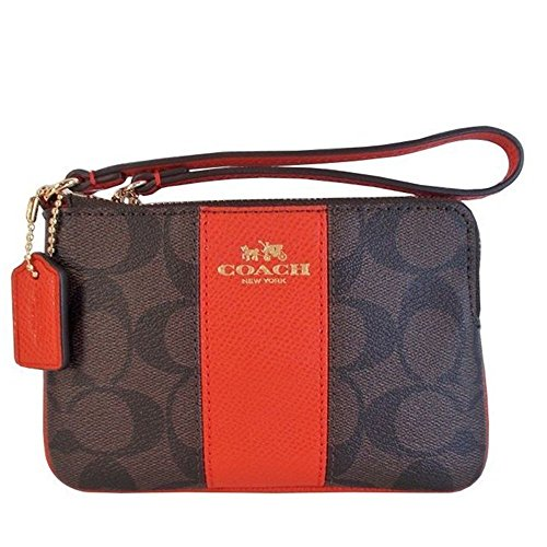 Coach 64233 signature coated canvas with leather corner zip wristlet