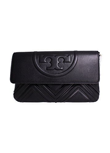 Tory Burch Fleming Geo-Leather Clutch in Black