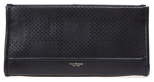 Isaac Mizrahi Womens Fashion Designer Handbags Kay Leather Check Perforated Clutch Black