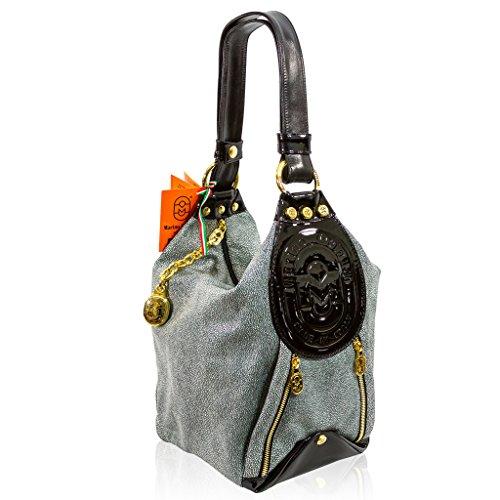 Marino Orlandi Italian Designer Classic Grey Stingray Leather Bucket Sling Bag