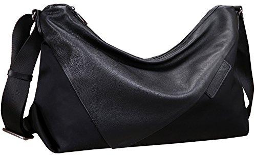 Heshe Women's Leather Handbags Black Shoulder Bags Cross Body Purses for Ladies