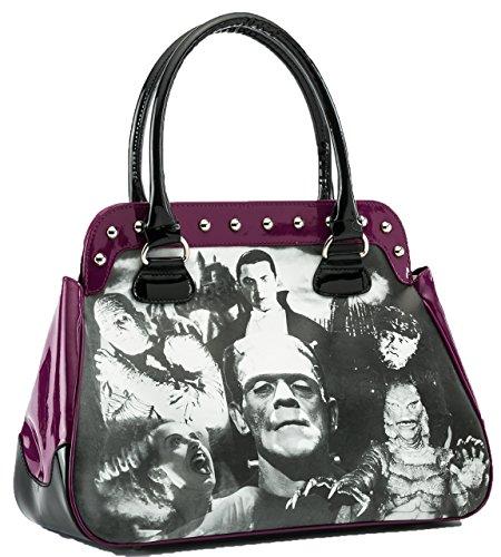 Rock Rebel Universal Monsters Collage Frankenstein Purple Shoulder Bag Purse