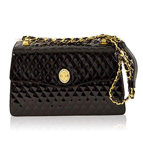 Valentino Orlandi Italian Designer Black Quilted Leather Purse Crossbody Bag