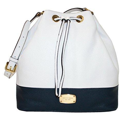 MICHAEL Michael Kors Large Jules Drawstring Shoulder Bag white/navy handbag