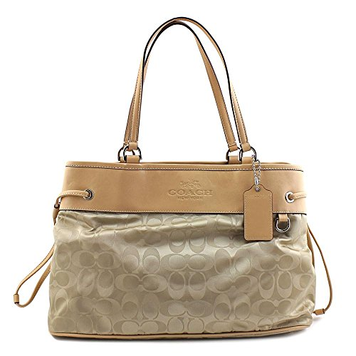 Coach Leather Trim Jacquard Satchel Handbag