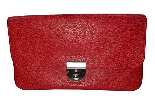 Longchamp Le Foulonné Red Leather Silver Hardware Women Clutch Bag