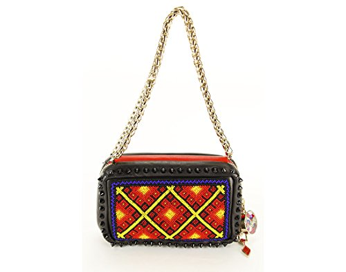Christian Louboutin Womens Piloutin Clutch Handbag Geometric Multi-Color Leather