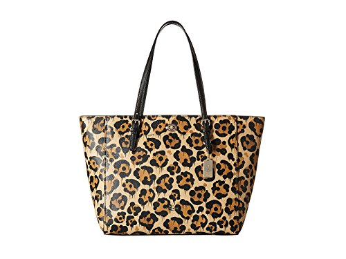 COACH Women's Leopard Ocelot Printed Light Turnlock Tote LI/Wild Beast Tote