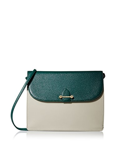 Isaac Mizrahi Womens Fashion Designer Handbags Tatiana Leather Clutch Bag with Crossbody Strap Forest Green