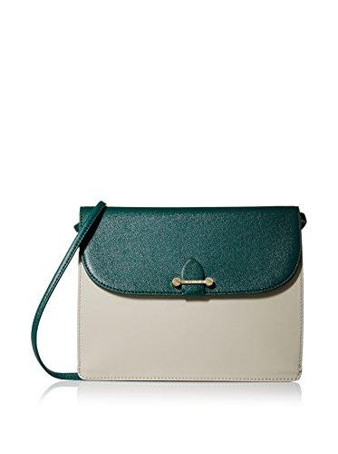 Isaac Mizrahi Womens Fashion Designer Handbags Tatiana Leather Clutch Bag with Crossbody Strap Forest Green