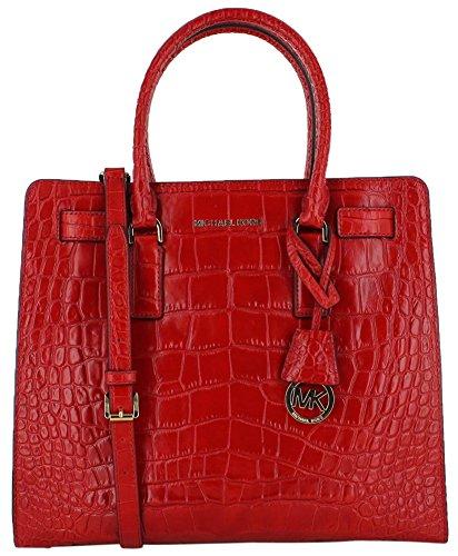 Michael Kors Dillon Large NS Embossed Leather Tote Bag Purse Red