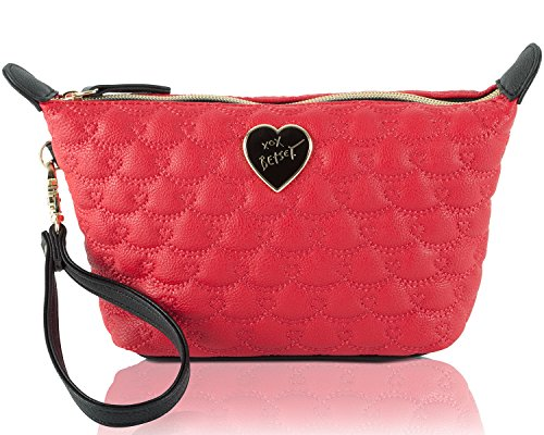 Betsey Johnson Be Mine Trapezoid Wristlet Cosmetic Pouch – Red