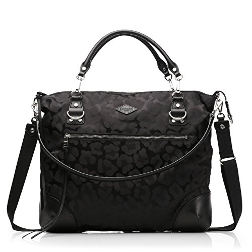 MZ Wallace Large Leopard Jacquard Black Bag Tote New
