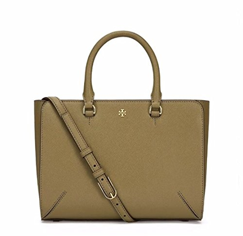 Tory Burch Small Leather Robinson Top Zip Green Olive Tote
