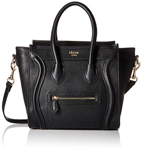 Celine Women's Micro Luggage Handbag, Black, One Size