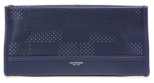 Isaac Mizrahi Womens Fashion Designer Handbags Kay Leather Check Perforated Clutch Navy Blue