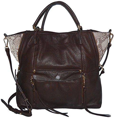 Kooba Leather Everette Satchel Tote Handbag Purse Bag Chocolate