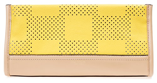 Isaac Mizrahi Womens Fashion Designer Handbags Kay Leather Check Perforated Clutch Canary Yellow