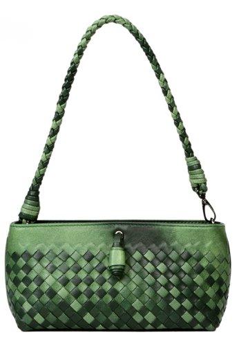 Ilishop Women's Green Clutch Genuine Sheepskin Handbag