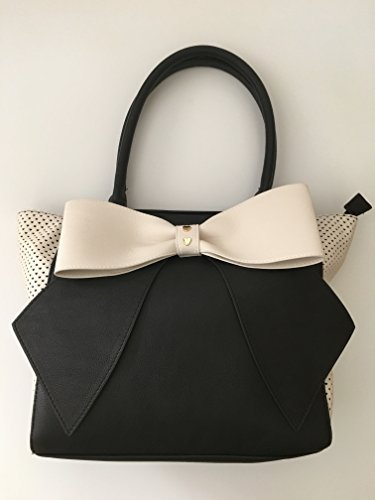 BETSEY JOHNSON Bow Nanza Perforated Hearts Black/White Wing Tote