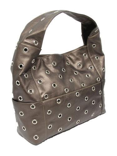Metallic Circle Grommet Shoulder Bag