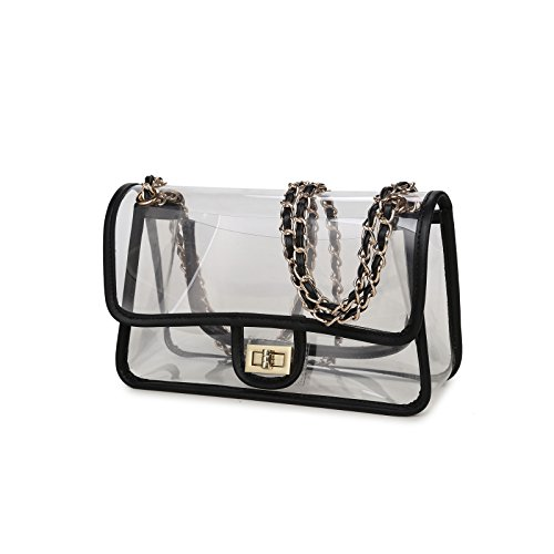 Lam Gallery Super Strong Quality Vinyl Clear PVC Purse with Turn Lock – NFL Stadium Approved and Trendy Style