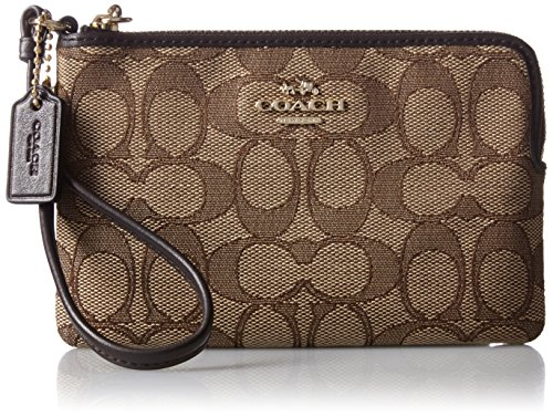 COACH Women's Signature Jacquard Corner Zip LI/Khaki/Brown Clutch