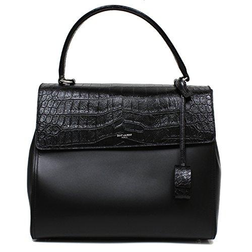 SAINT LAURENT CLASSIC SAC SATCHEL HANDBAG BLACK CROC LEATHER TOP-HANDLE BAG SHOULDER STRAP 355156