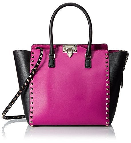 Valentino Women's Large Rockstud Tote Bag, Fuchsia/Black
