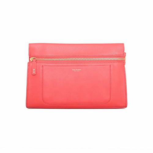 Isaac Mizrahi Womens Fashion Designer Handbags Janna Leather Clutch Evening Crossbody Bag Flamingo Pink