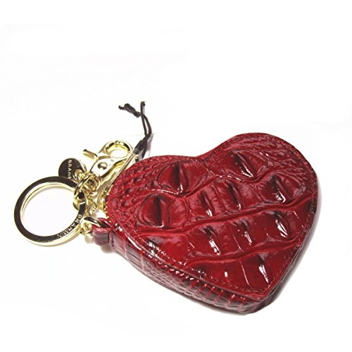 NEW AUTHENTIC BRAHMIN HEART COIN CASE KEYFOB (Carmine Red Melbourne)