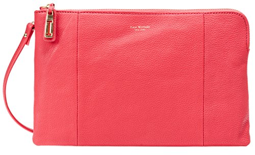 Isaac Mizrahi Womens Fashion Designer Handbags Cybil Leather Clutch Bag with Detachable Crossbody Strap Pink