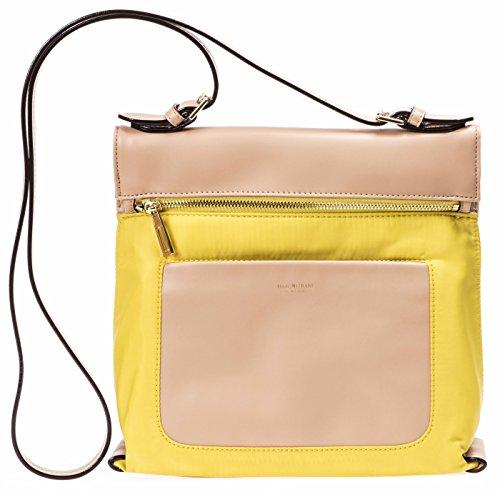 Isaac Mizrahi Womens Fashion Designer Handbags Womens Joan Nylon Leather Crossbody Bag Canary Yellow Yellow