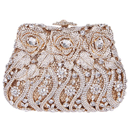 Fawziya Rose Clutch Purse Luxury Crystal Evening Clutch Bags