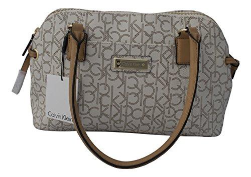 Calvin Klein Monogram Satchel Bag Handbag Purse Almond / Khaki / Camel