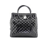Michael Kors Hamilton Hippie Grommet Large North South Tote Quilted Black Leather