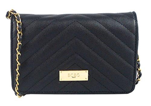 BCBG Paris Contemporary Quilted Crossbody Shoulder Bag- Black