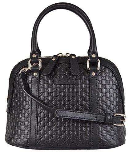 Gucci Women's Micro GG Leather Convertible Mini Dome Purse (Black)