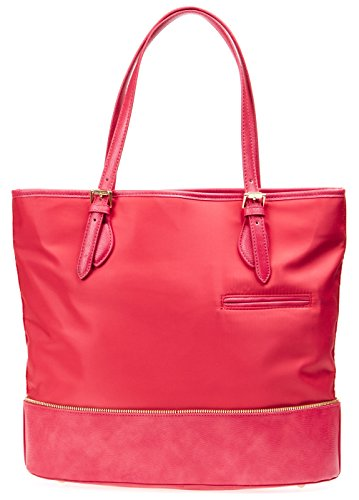 Isaac Mizrahi Womens Fashion Designer Handbags Daphne Nylon Leather Tote Shoulder Bag Watermelon Red