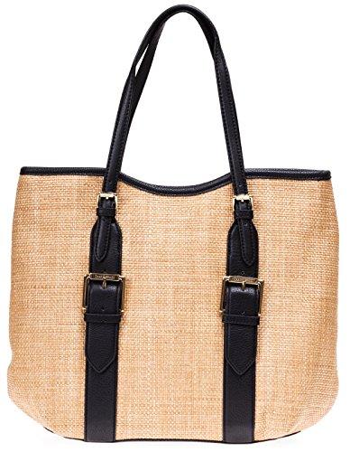Isaac Mizrahi Womens Fashion Designer Handbags Lucille Leather Straw Beach Tote Shoulder Bag Black