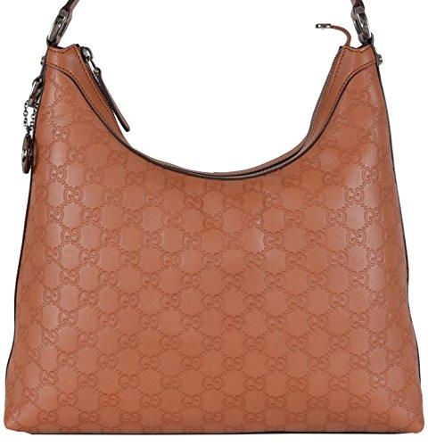 Gucci Women's Saffron Tan GG Guccissima Leather GG Pendant Hobo Purse