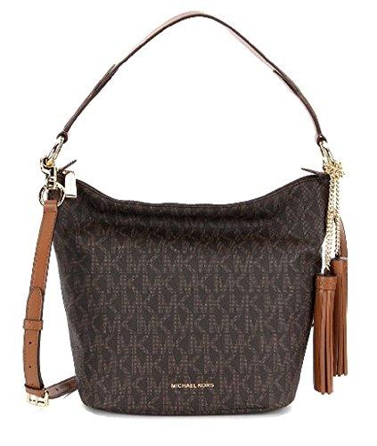 Michael Kors Elana Brown Medium Leather Shoulder Bag