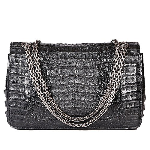 STDEYN Women's Crocodile Leather Ladies Handbag Evening Party Bag Black