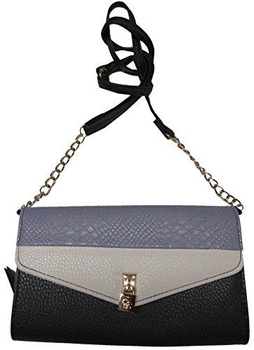 Jessica Simpson Women's *Ellie* Crossbody Wallet/Handbag, Black/Grey/Off White