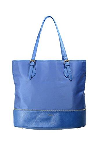 Isaac Mizrahi Womens Fashion Designer Handbags Daphne Nylon Leather Tote Shoulder Bag Navy Blue