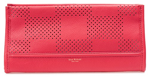 Isaac Mizrahi Womens Fashion Designer Handbags Kay Leather Check Perforated Clutch Watermelon Red